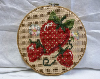 Vintage Strawberry Needlepoint Hoop, Wall Hanging, S