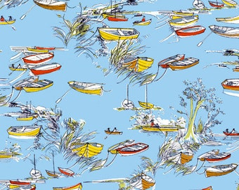 Fabric, Cotton Fabric,Boat Fabric,River Bank - Boats in the Rushes - Inprint by Jane Makower