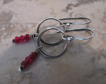 Natural Rubys and Sterling Silver Handmade/Hand Forged Dangle Earrings Rubys Ruby July Birthstone Jewelry Toniraecreations