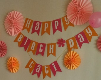 Birthday Banner, Pink, Orange and White