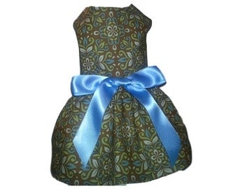 Dog Dress in in Brown and Blue Floral Pattern Fabric