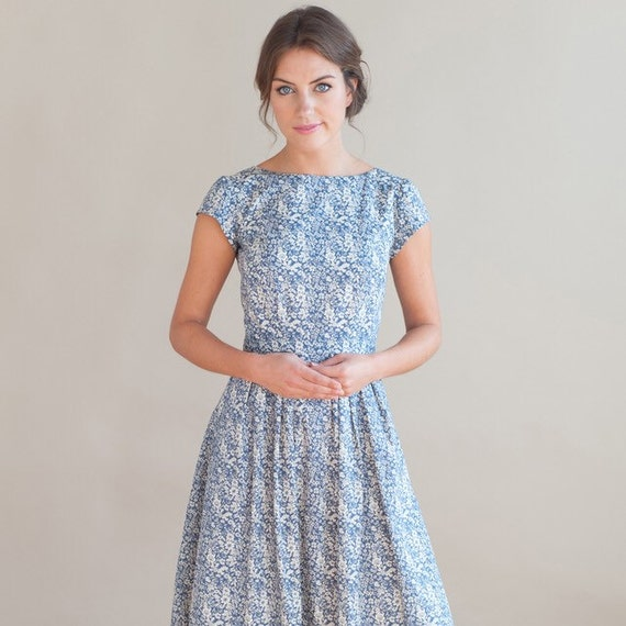 Blue Floral Dress By PLUMANDPIGEON On Etsy