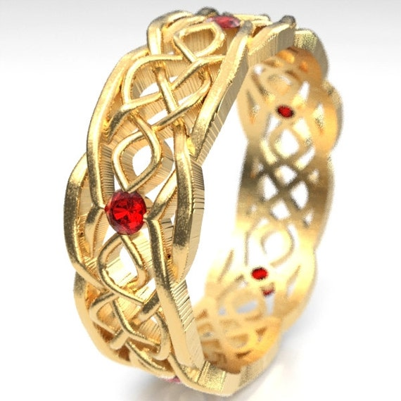 Gold Celtic Wedding Ring With Cut-Through Infinity Symbol Pattern & Ruby Stones in 10K 14K 18K Gold or Palladium or Platinum Cr-1049
