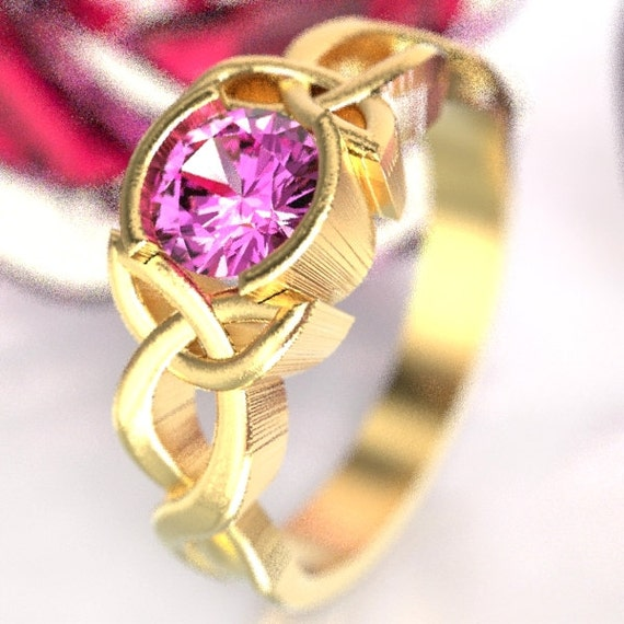 Celtic Pink Sapphire Ring With Trinity Knot Design In 10k 14k