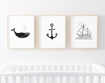 "Set of Three Art Prints - 8X10"" or 11X14"" - Nautical - Black and White  - Anchor Whale Boat - Minimalist - Adventure -  Nursery - SKU:8017"