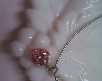 HUGE SALE Pink Crystal Heart Necklace