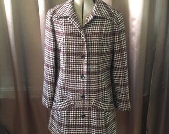 Vintage 50s Pendleton Wool Cream Brown Houndstooth Plaid Swing Pea Babydoll Jacket Dress Jacket Coat