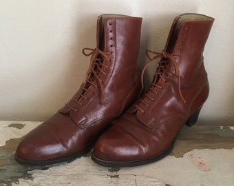 Vintage 1980s Brown Leather LACE UP Victorian Granny Ankle CHUNKY Heel Secretary Teacher Heels Booties 6.5 7