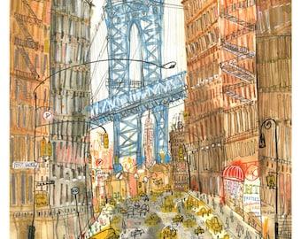 DUMBO ART PRINT New York Illustration, Nyc Wall Art 8 x 10 inch Print, Manhattan Bridge, City Building, Watercolor Sketch, New York Painting