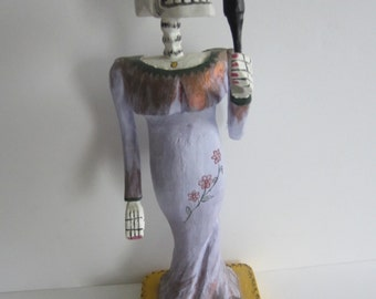 VIntage Wooden Mexican Day of the Dead Woman Singer