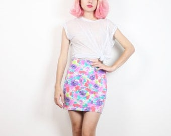 Vintage 1980s Skirt Bright Pink Purple Teal Orange Floral Print Bandage Skirt 80s New Wave Bodycon High Waisted Mod Rave Stretch S M Medium