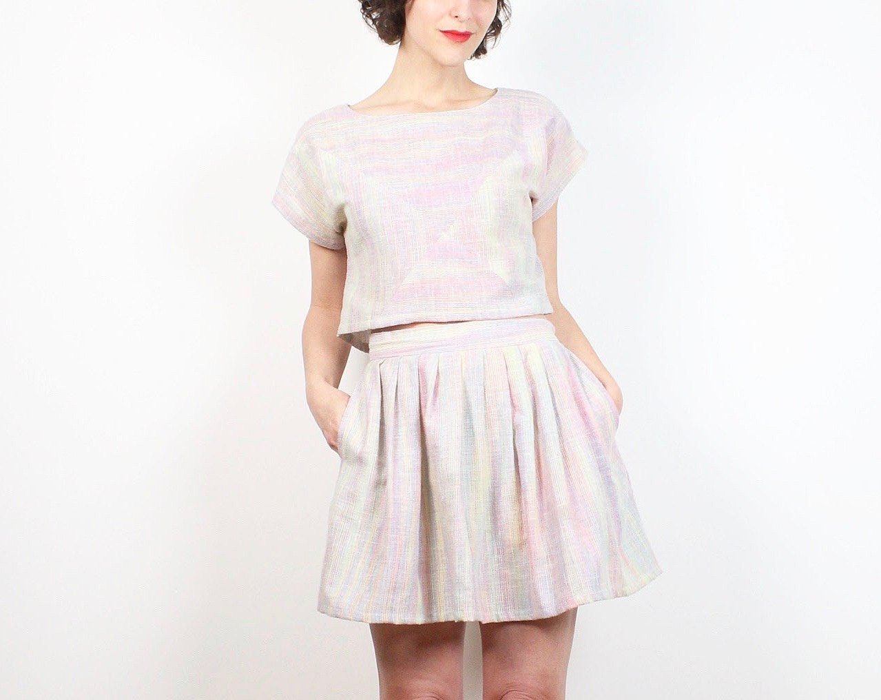 Vintage 80s Two Piece Outfit Pastel Rainbow Striped Crop Top