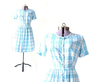 1950s Dress, 50s Dress, Blue Vintage Dress,  Gingham Dress, 1950s Blue Dress, 50s Plaid Dress, Womens Clothing, 50s Vintage Clothing