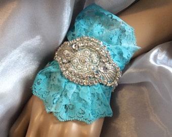 Rhinestone Wedding Corsage-Bridal Corsage-Prom Corsage-Aqua-Wrist Corsage-Rhinestone Cuff Corsage Bracelet Brooch Corsage-Prom Keepsake