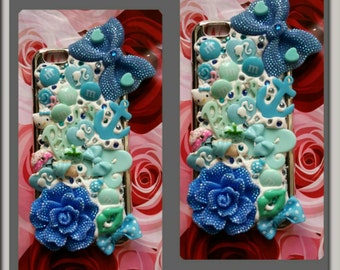 Sweet whipped cream blue turquoise sea green barbie bling fashion iPhone 6 case