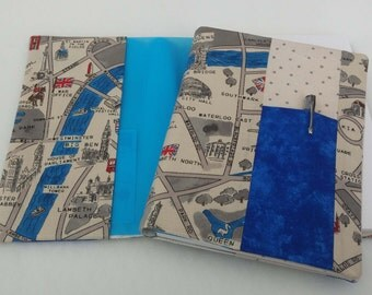 Original handmade  journal diary visual art book cover - A5 size London Map