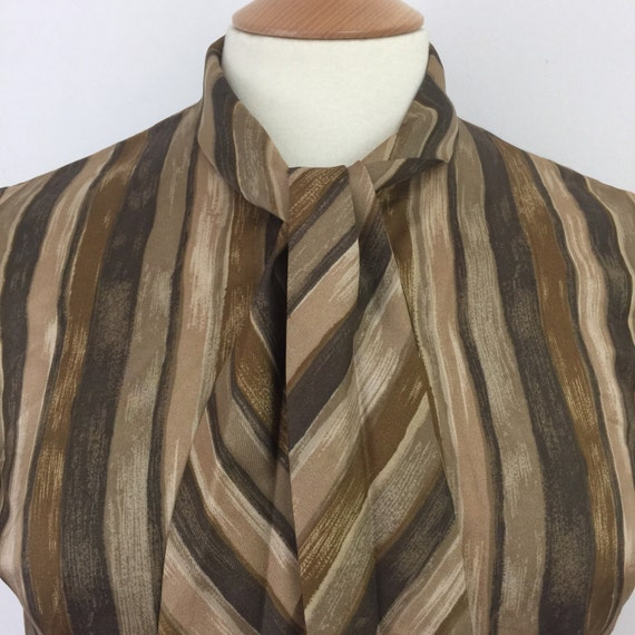 1960s pussy bow blouse brown striped silky acetate St Michael shirt top Mod sexy secretary UK 10 stripes 1950s shirt