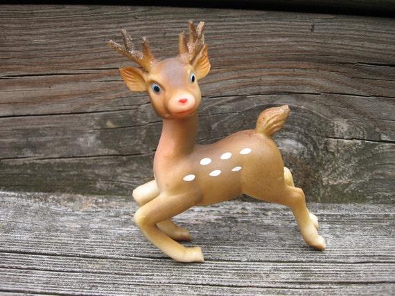 vintage reindeer soft plastic Christmas decoration japan deer