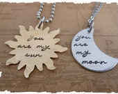 His her Couples relationship set Sun Moon handmade Hand Stamped Jewelry necklace gift for her you are my sun you are my moon matching set