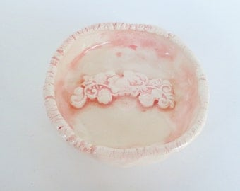 Pastel pink lace textured ceramic trinket dish, earthenware pottery ring holder jewelry catcher bowl, soap holder