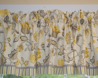 """Marcela Sun Home Essentials Yellow Gray Toile Valance 17"""" X 45"""" Drapery Weight Can Alter Curtain Window Treatment"""