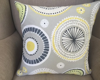 Cushion Cover/Pillow in Charnwood Mimosa in Zest in shades of Grey, White and Yellow with an EST Linen Backing.