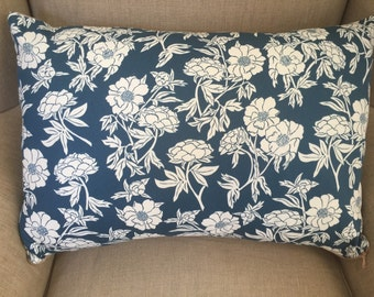 """Large Rectangle Cushion Cover/Pillow in """"NOVELLA, Peony"""" by Valori Wells for FreeSpirit with an EST Linen Backing."""