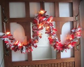 Lighted Christmas Garland Cloth Garland Festive Season Rag Garland Red and Silver