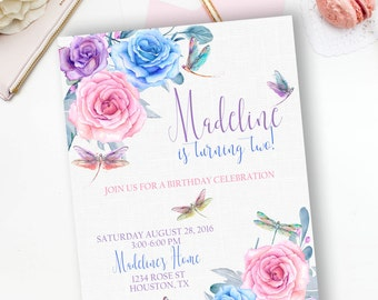 PRINTABLE-y Floral and Dragon Flies Watercolor Birthday Invitation- YOU PRINT