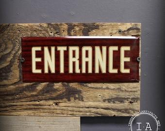 Vintage Faux Wood Metal Entrance Sign Advertising