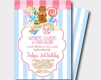 Candy Shop Invitation | Candy Invitation | Sweet Celebration | Cookie Exchange | Gingerbread Cookie Invitation | Lollipop Invitation
