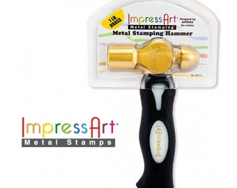 IMPRESSART - 1lb Brass Hammer | Metal Stamping Hammer  | Brass Stamper |  Hammer