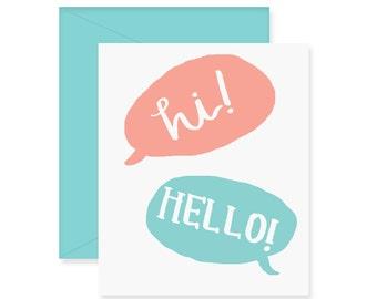 Hi Hello Greeting Card - Friendship Card - Handwritten Card - Quote Bubbles - Cute Greeting Card
