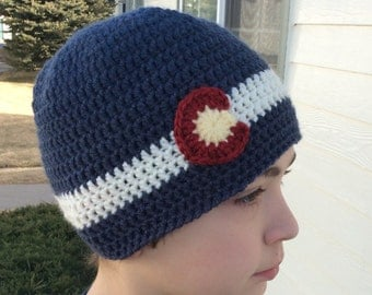Crochet Colorado Beanie, Denim,- Baby, Child, Teen, Adult sizes, Colorado hat, Corado Beanie