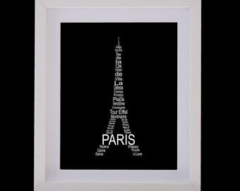 Framed Eiffel Tower Paris Picture - Handmade Personalised Travel Typography
