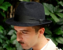 On sale Mens hat black felt winter autumn small brim hat fedora trilby hat