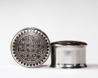 Clearance: Silver Tribals Plugs, gauges 1/2, 9/16, 5/8, 3/4
