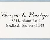 Self Inking Address Stamp - Personalized Address Stamp - Calligaphy Wedding Address Stamp - T06