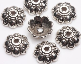 10 pcs Tibet Silver Loose Spacer Bead Caps,size 9x3mm.Good for pendant,bracelet,earrings.Free USA shipping!