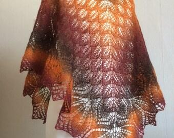 Hand Knitted Lace Autumn Haruni Shawl