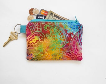 Mini Wallet Credit Card Case Coin Purse Paisley Batik