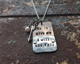 God is with me I will not fail dog tag necklace