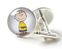 Charlie Brown Cufflinks Men's accessories Peanuts Characters Glass Dome Handmade men's jewelry Kids cufflinks Available in 2 sizes