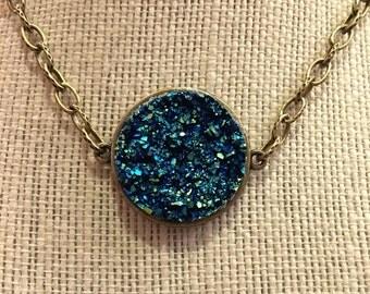 """18"""" Bronze Metallic Blue Faux Druzy Pendant Necklace"""