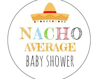 12 Nacho Stickers, Fiesta Theme, Nacho Average Shower, Baby Shower, Fiesta Shower, Fiesta Party, Sombrero Stickers, Nacho Theme, Fiesta