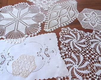 Vintage Doilies,  Crochet Napkins , Table  Linen , Antique Lace Doilies - set of 7.