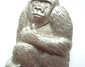 Vintage Signed JJ  Silver pewter Mountain Gorilla Brooch/Pin