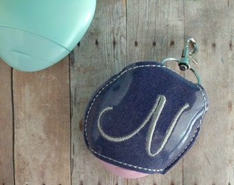 Monogram Lotion Pod Holder, Glitter Vinyl with Snap, Choose from 26 Colors, Fits EOS Lotion, Great for Backpacks, Bags, Purses, Quick Ship