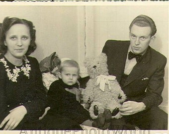 Family w doll & teddy bear antique photo