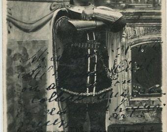 Italy handsome opera singer in Roman costume antique hand signed rppc photo